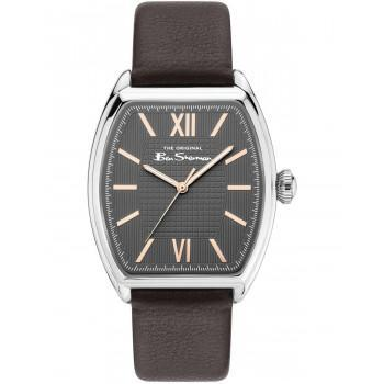 BEN SHERMAN  The Originals  - BS047BR  Silver case with Black Leather Strap