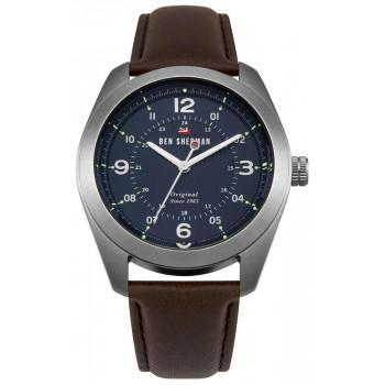 BEN SHERMAN  The Ronnie Social  - WBS110UBR  Silver case with Brown Leather Strap