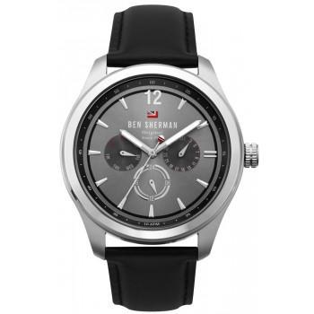 BEN SHERMAN The Sugarman Multifunction - WBS112B,  Silver case with Black Leather Strap