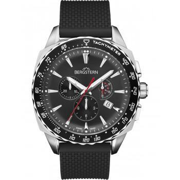 BERGSTERN Active Chronograph - B051G241  Silver case with Black Rubber Strap