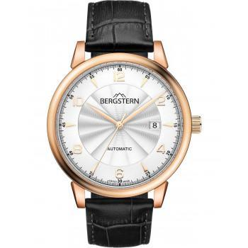 BERGSTERN Harmony Automatic - B048G228  Rose Gold case with Black Leather Strap