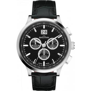 BERGSTERN Harmony Chronograph - B038G187  Silver case with Black Leather