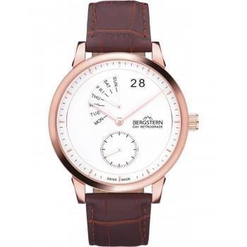 BERGSTERN Harmony Day Retrograde - B040G195,  Rose Gold case with Brown Leather Strap