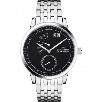BERGSTERN Harmony Day Retrograde - B040G196,  Silver case with Stainless Steel Bracelet