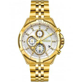 BREEZE Empressa Crystals Chronograph - 212191.2  Gold case with Stainless Steel Bracelet