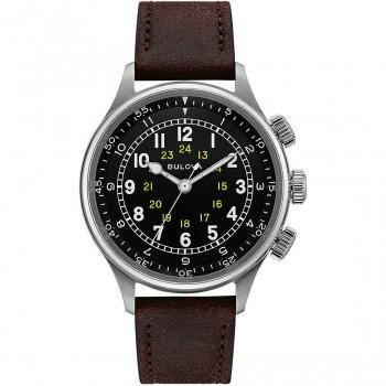 BULOVA  A-15 Pilot Automatic- 96A245  Silver case with Brown Leather Strap
