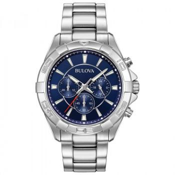 Bulova Chronograph Mens - 96A215  Silver case with Stainless Steel Bracelet