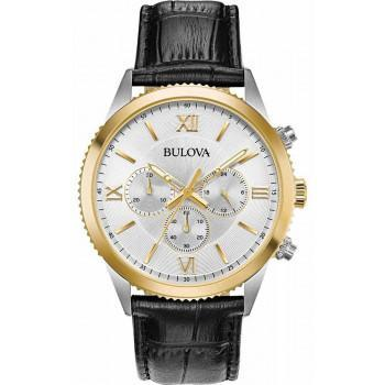 BULOVA Chronograph Mens - 98A218  Silver case with Black Leather Strap