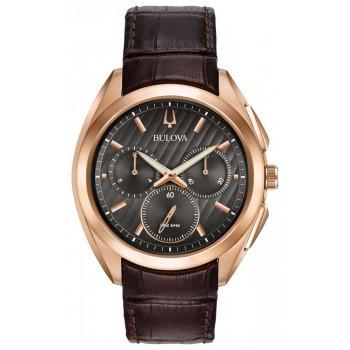 Bulova Curv Chrono -  97A124  Rose Gold case with Brown Leather Strap