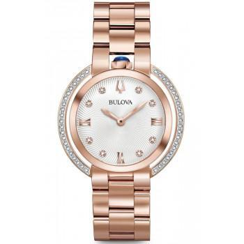 BULOVA Diamonds  - 98R248  Rose Gold case with Stainless Steel Bracelet