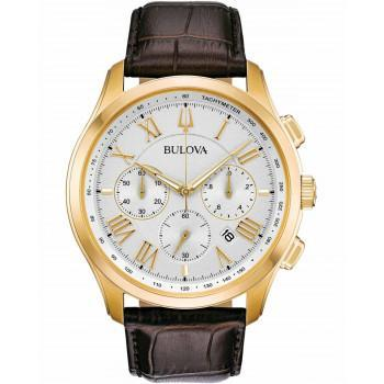 BULOVA Marine Star Chronograph - 97B169  Gold case with Brown Leather Strap