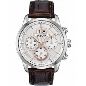 BULOVA Marine Star Chronograph Mens - 96B309  Silver case with Brown Leather Strap