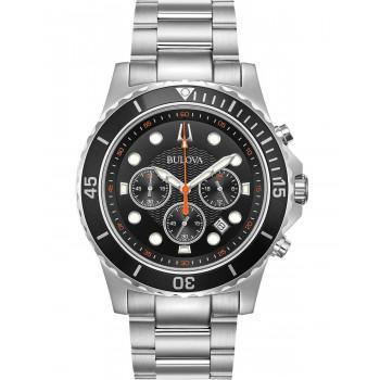 Bulova Marine Star Chronograph Mens - 98B326  Silver case with Stainless Steel Bracelet