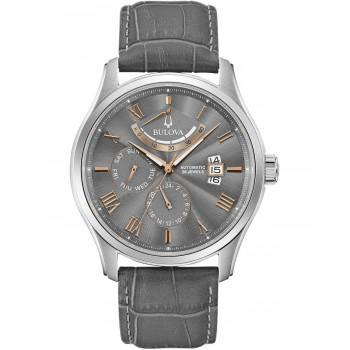 BULOVA Mechanical Collection Wilton Automatic - 96C143  Silver case with Grey Leather Strap