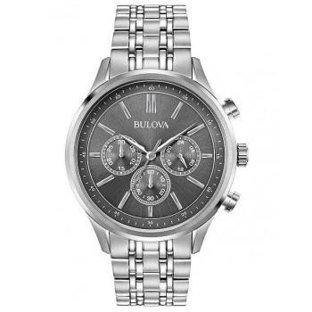 Bulova Mens Chronograph - 96A209  Silver case with Stainless Steel Bracelet