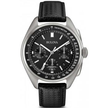 Bulova Special Edition Moonwatch Chrono -  96B251   Silver case with Black Leather Strap