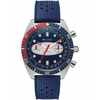 BULOVA Surfboard Chronograph - 98A253  Silver case with Blue Rubber Strap