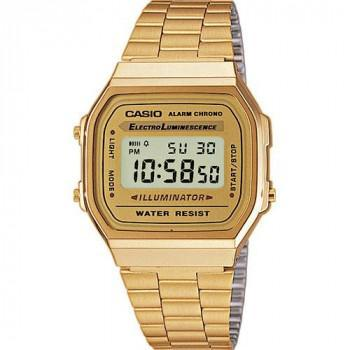 CASIO Collection - A-168WG-9EF, Gold case with Stainless Steel Bracelet