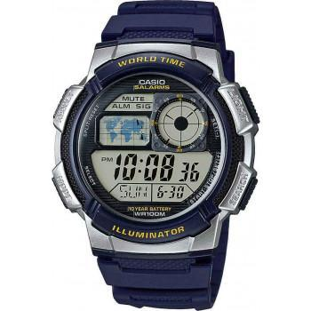 CASIO Collection - AE-1000W-2AVEF Silver case, with Blue Rubber Strap