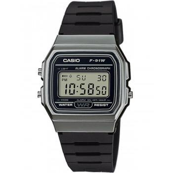 CASIO Collection  Chronograph - F-91WM-1BEF,  Grey case with Black Rubber Strap