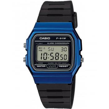 CASIO Collection  Chronograph - F-91WM-2AEF,  Blue case with Black Rubber Strap