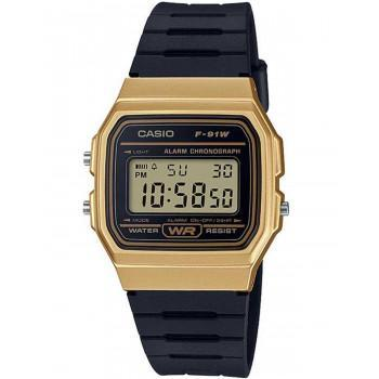 CASIO Collection  Chronograph - F-91WM-9AEF,  Gold case with Black Rubber Strap