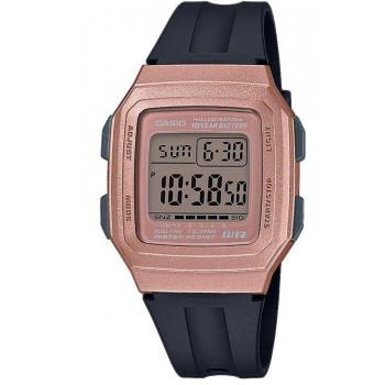 CASIO Collection - F-201WAM-5AVEF,  Rose Gold case with Black Rubber Strap