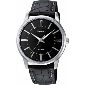 CASIO Collection - MTP-1303PL-1AVEF, Silver case with Black Leather Strap