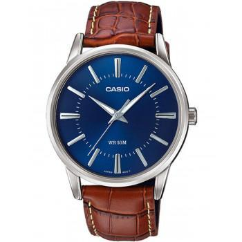 CASIO Collection - MTP-1303PL-2AVEF,  Silver case with Brown Leather Strap