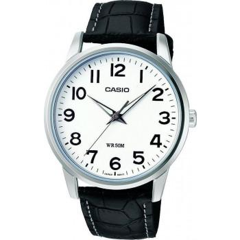 CASIO Collection - MTP-1303PL-7BVEF, Silver case with Black Leather Strap
