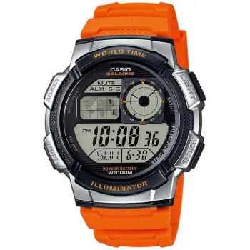 CASIO Collection Sport - AE-1000W-4BVEF,  Silver case with Orange Rubber Strap