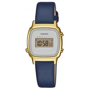 CASIO Collection Vintage - LA-670WEFL-2EF,  Gold case with Blue Leather Strap