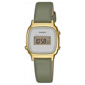 CASIO Collection Vintage - LA-670WEFL-3EF,  Gold case with Khaki Leather Strap