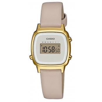 CASIO Collection Vintage - LA-670WEFL-9EF,  Gold case with Beige Leather Strap