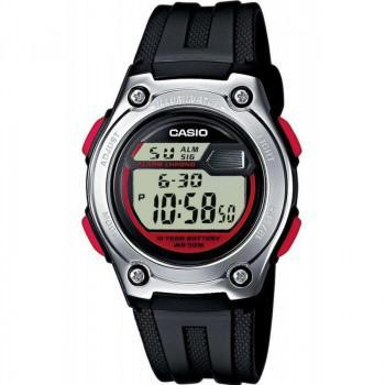 CASIO Collection - W-211-1B, Black case with Black Rubber Strap
