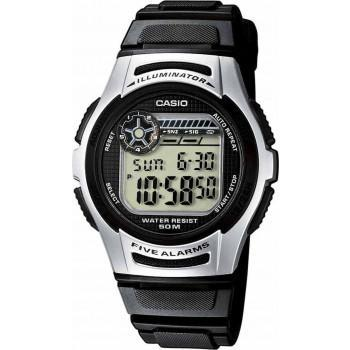 CASIO Collection - W-213-1AVES, Black case with Black Rubber Strap