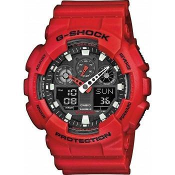 CASIO G-Shock Chrono - GA-100B-4AER Red case, with Red Rubber Strap