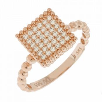 TBS Creations Δαχτυλίδι από ροζ χρυσό 14 καρατίων BSR107926