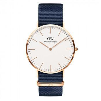 DANIEL WELLINGTON Classic Bayswater - DW00100275,  Rose Gold case with Blue Fabric Strap