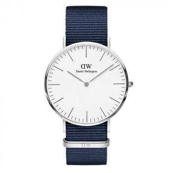 DANIEL WELLINGTON Classic  Bayswater - DW00100276,  Silver case with Blue Fabric Strap