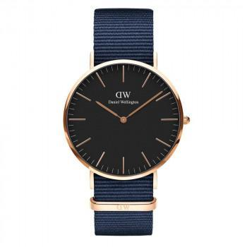 DANIEL WELLINGTON Classic Black Bayswater - DW00100277,  Rose Gold case with Blue Fabric Strap