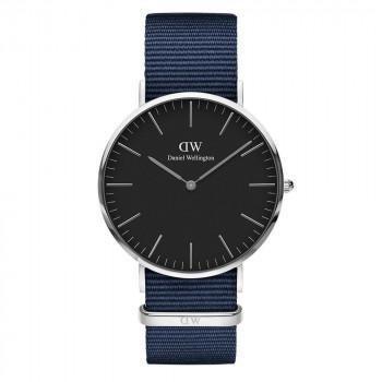 DANIEL WELLINGTON Classic Black Bayswater - DW00100278,  Silver case with Blue Fabric Strap
