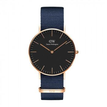 DANIEL WELLINGTON Classic Black Bayswater - DW00100281,  Rose Gold case with Blue Fabric Strap