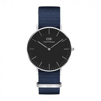 DANIEL WELLINGTON Classic Black Bayswater - DW00100282,  Silver case with Blue Fabric Strap