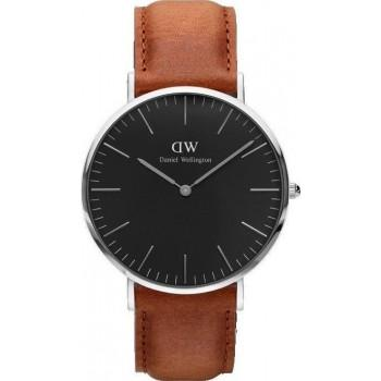 DANIEL WELLINGTON Classic Black Durham - DW00100132, Silver case with Brown Leather Strap