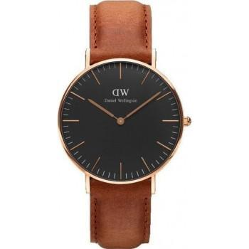 DANIEL WELLINGTON Classic Black Durham - DW00100138, Rose Gold case with Brown Leather Strap