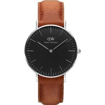 DANIEL WELLINGTON Classic Black Durham - DW00100144, Silver case with Brown Leather Strap