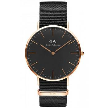 DANIEL WELLINGTON Classic Black Cornwall - DW00100148, Rose Gold case with Black Fabric Strap