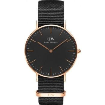 DANIEL WELLINGTON Classic Black Cornwall - DW00100150, Rose Gold case with Black Fabric Strap