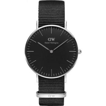 DANIEL WELLINGTON Classic Black Cornwall - DW00100151, Silver case with Black Fabric Strap